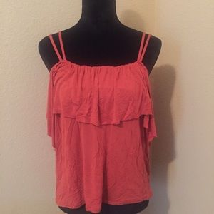 14th & Union Cold Shoulder Ruffle Tee